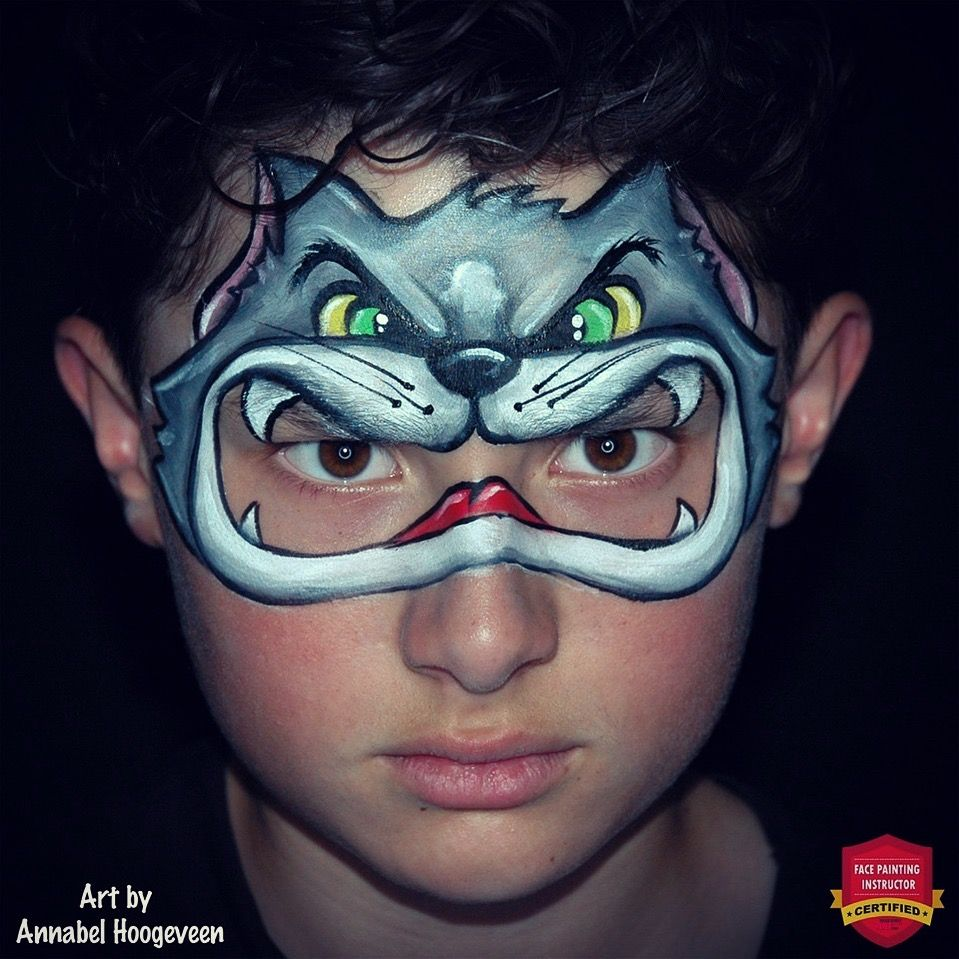 Cat face paint. A cool 'moving mask' for kids to play with
