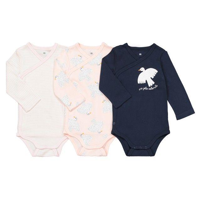Lot de 3 bodies naissance en coton bio préma-2 ans La Redoute Collections  rose c4c75ac18ea