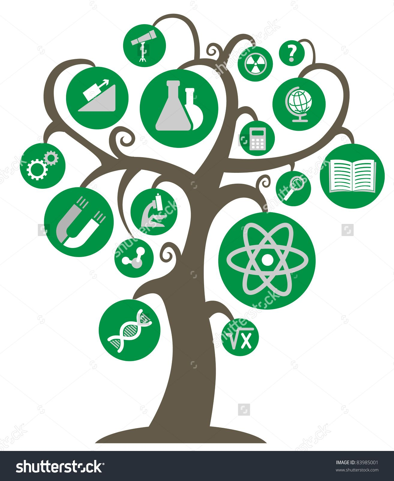 the tree of knowledge with the symbols of science and