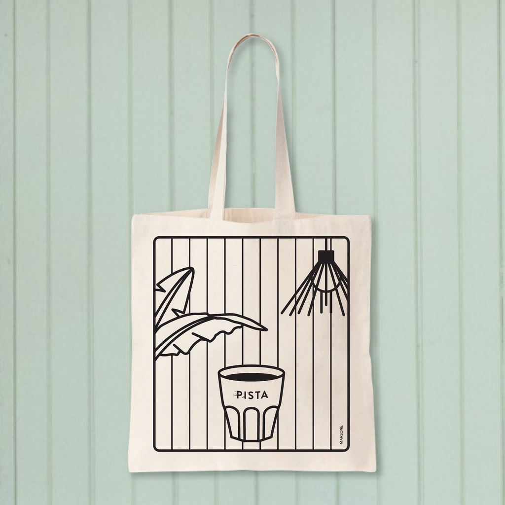 Tote Bag White Cafe Pista Coffee Shop Cup of Coffee Banana Leaves Lamp Montreal Illustration Design by Marlone Montreal
