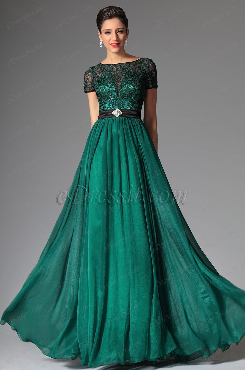 eDressit 2014 New Dark Green Short Sleeves Evening Dress Prom ...