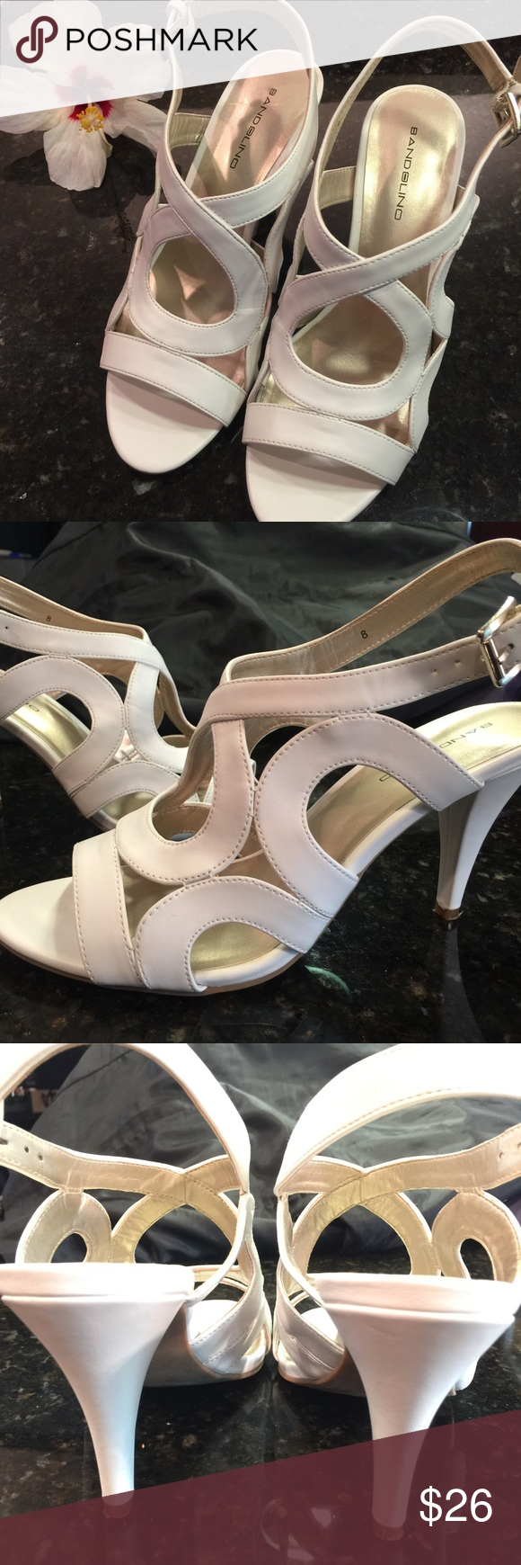 """Bandolino ivory sandals Leather sandals in a pretty ivory color perfect for summer. Very comfortable 4"""" heel. Excellent condition. Bandolino Shoes Sandals"""