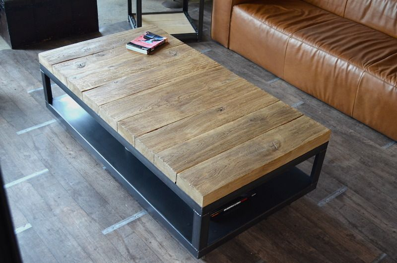 Table Basse Bois Brut Metal Table Basse A Roulettes