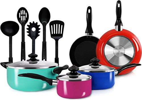 13 Pieces Kitchen Cookware Set Colored Pots And Pans Set With