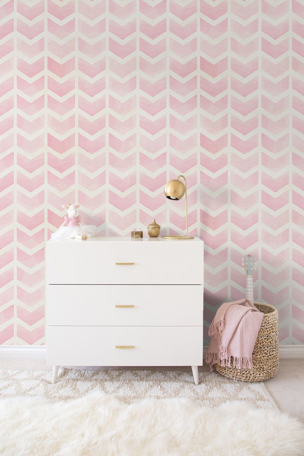 Pink Vectors removable Wallpaper traditional white