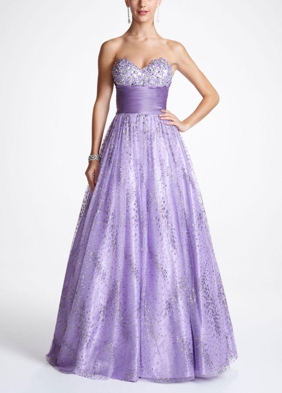 Strapless beaded glitter tulle prom ball gown davidus bridal