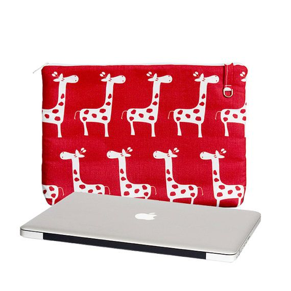 """READY TO SHIP 13"""" Laptop Sleeve for MacBook Pro,  Padding, Three Pockets, Padded Laptop Case, Women's Laptop Case, Red Giraffes, In Stock"""