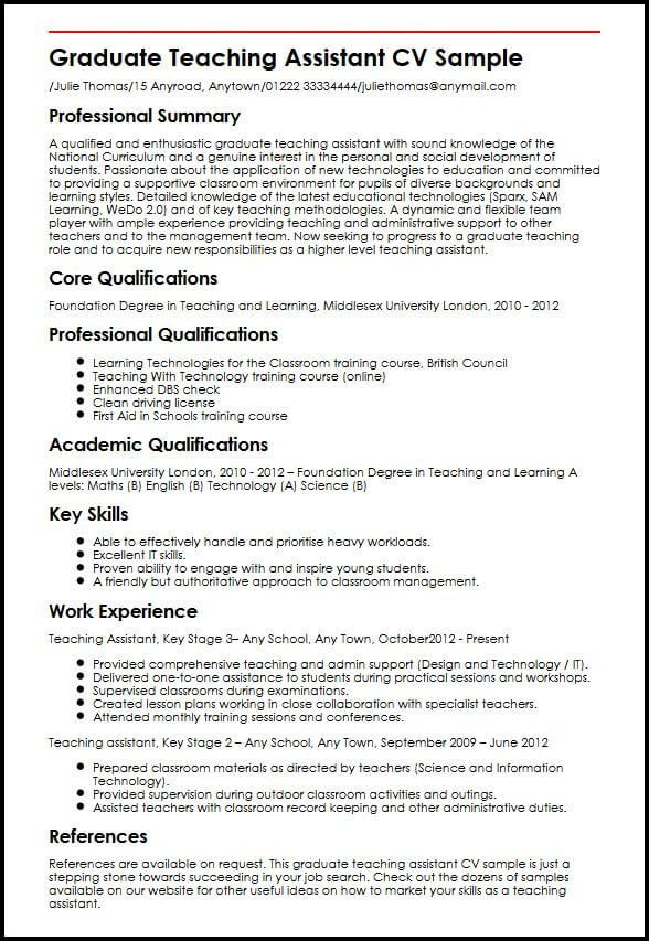 Cv Template Graduate Resume Format Teacher resume