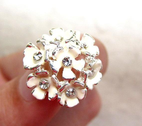 5 Hydrangea Enamel Rhinestone buttons - Cream colour for Wedding Bridemaid Hair Accessories Scrapboo