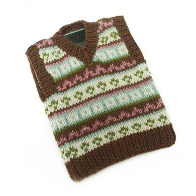Tablet Cover Fair Isle Tech Vest FREE knitting pattern in Lion ...