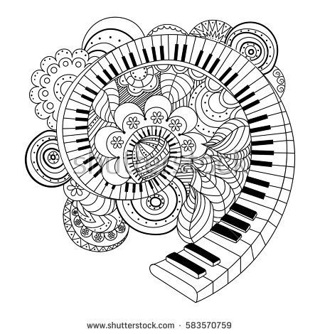 Abstract Musical Instrument Coloring Book Hand Drawn Vector Illustration