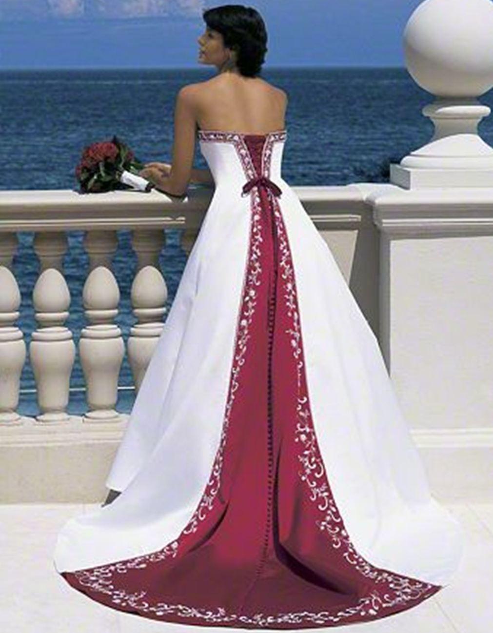Vestido blanco y rojo espalda bodas novias y noviosclothing and