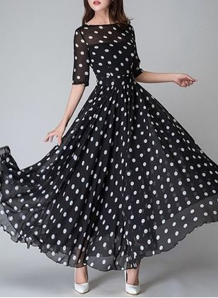 5d13c8cd5e3 Chiffon Polka Dot Dress is so cute with the polka dot fabric and lots of  fabric because this dress is a twirling styel for certain