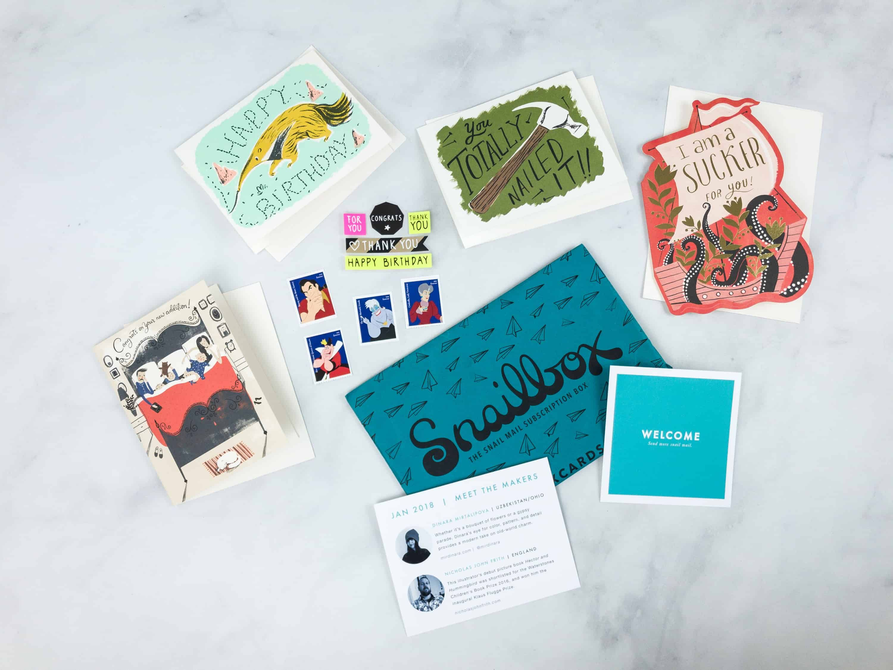 Snailbox January 2018 Subscription Box Review Hello Subscription Unique Greeting Cards Subscription Box Review Forever Stamps