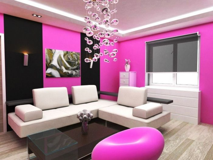 Pink Wall Paint #Livingroom Design with Center Painting: http ...