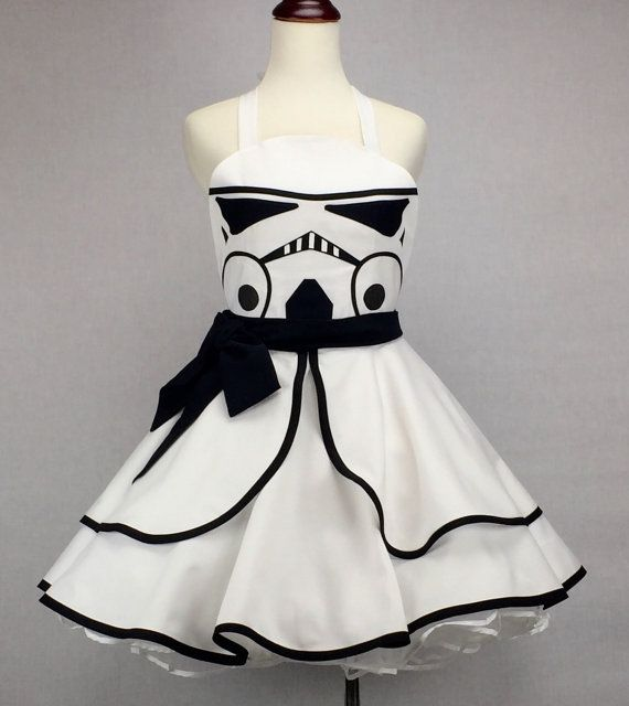 598fd05ead54 Star Wars Inspired Handmade Stormtrooper Apron - Full Circle Skirt Pin Up Cosplay  Costume