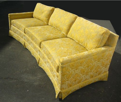 VINTAGE HENREDON GOOSE DOWN SOFA COUCH ~ GOLD SILK BROCADE FRENCH MID  CENTURY