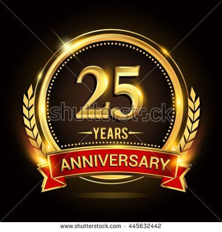 Celebrating 25 Years Anniversary Logo With Golden Ring And Red