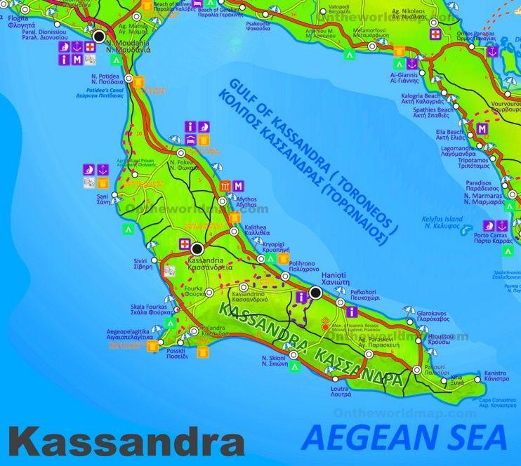 Kassandra tourist attractions map Maps Pinterest