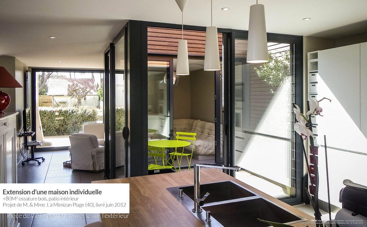 Extension ossature bois avec patio int rieur mimizan plage - Maison avec patio arbre d interieur ...