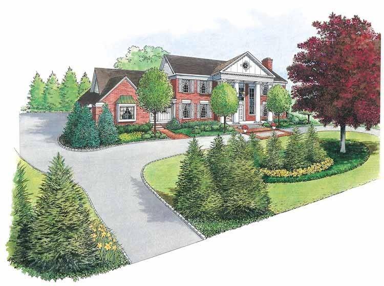 Eplans landscape plan balance the scale landscape from for Entrance landscape design