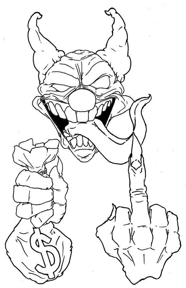 killer clown skull drawings killer clown tattoo drawings