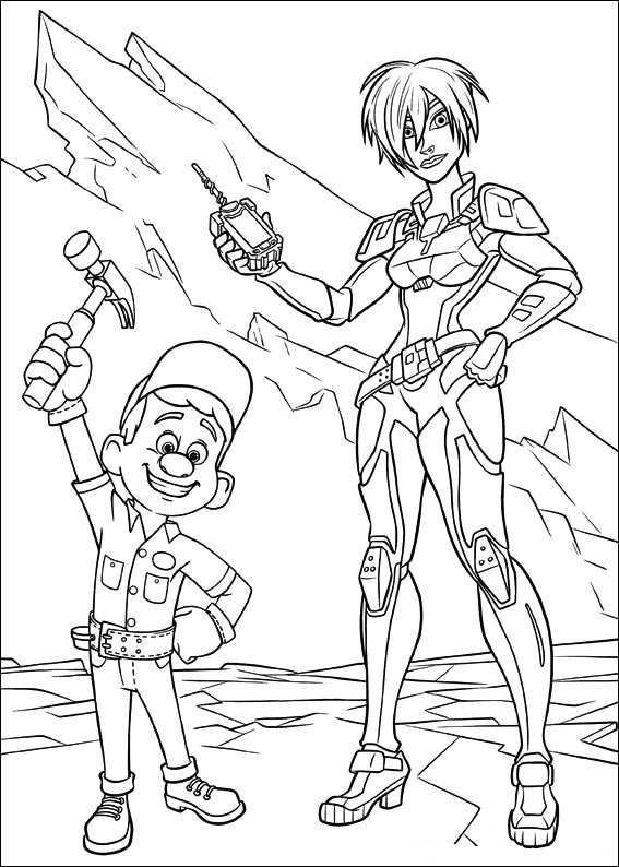Coloring Page Wreck It Ralph Calhoun Felix Cartoon Coloring
