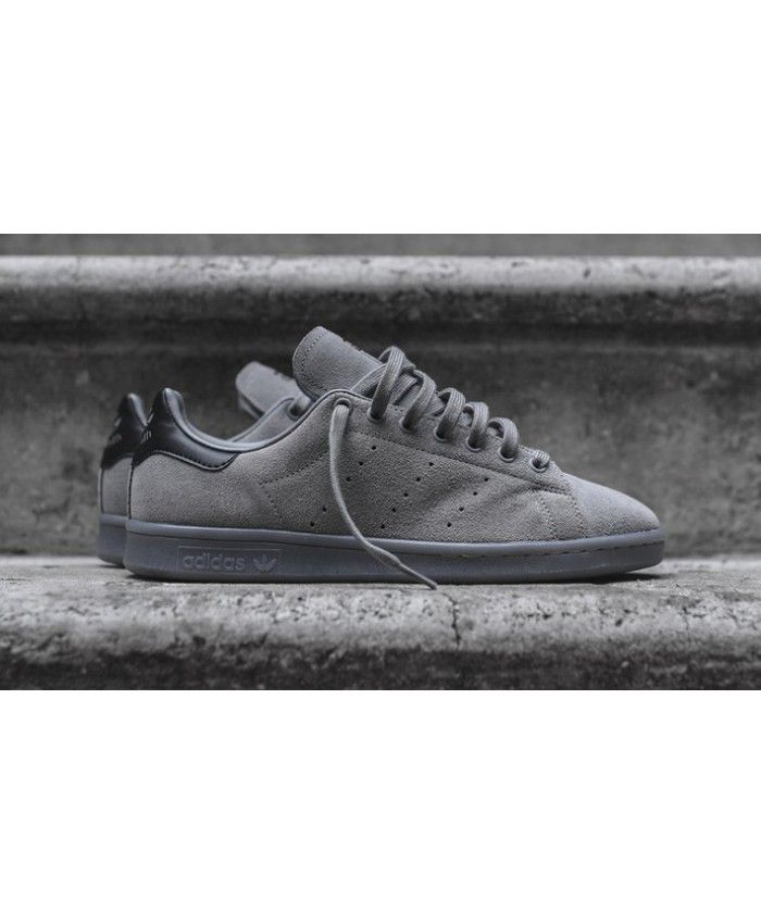 meet 2585a 9c7c6 Adidas Originals Stan Smith Solid Grey Black Trainers Sale UK