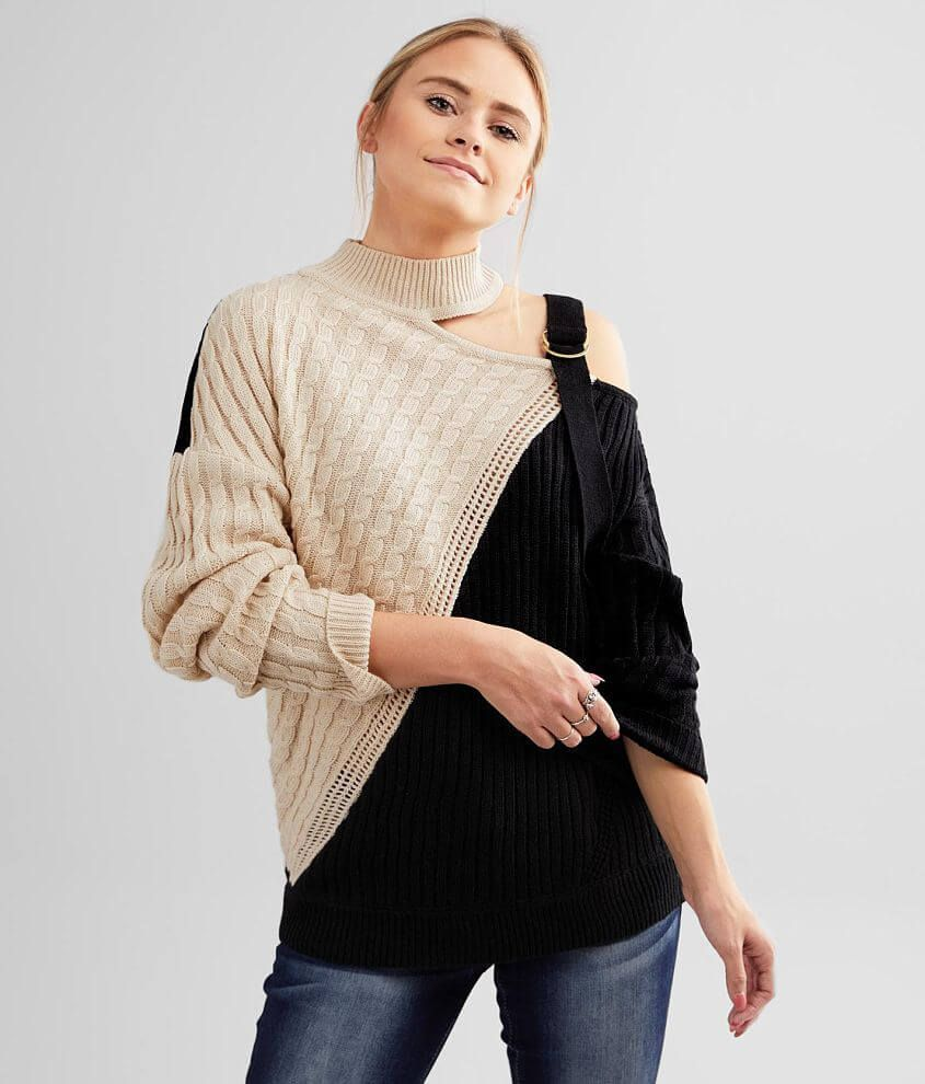Red By BKE Mock Neck Cold Shoulder Sweater - Wome