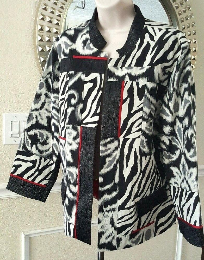 Chico's Ladies Animal Print Jacket Zebra Black White Open