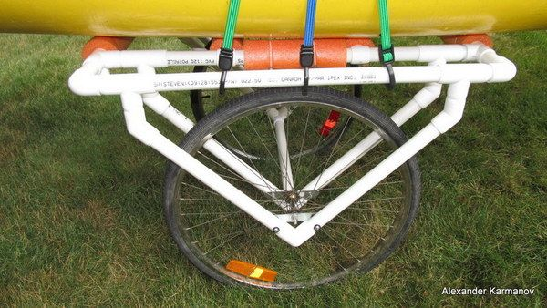 A DIY PVC canoe dolly that is made from our own PVC pipe and fittings.  This canoe dolly easily attaches underneath your canoe and literally rolls the vessel from Point A to Point B without putting any undue strain on your body.