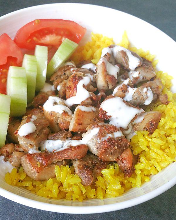 Nyc Halal Cart Chicken Over Rice Copycat Recipe Recipe Halal Recipes White Sauce Recipes Recipes