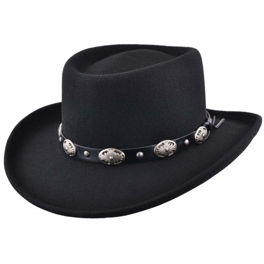 c47a9effdcbda Mens Black Classic 100% Wool Felt Crushable Gambler Cowboy Hat Faux Leather  Band