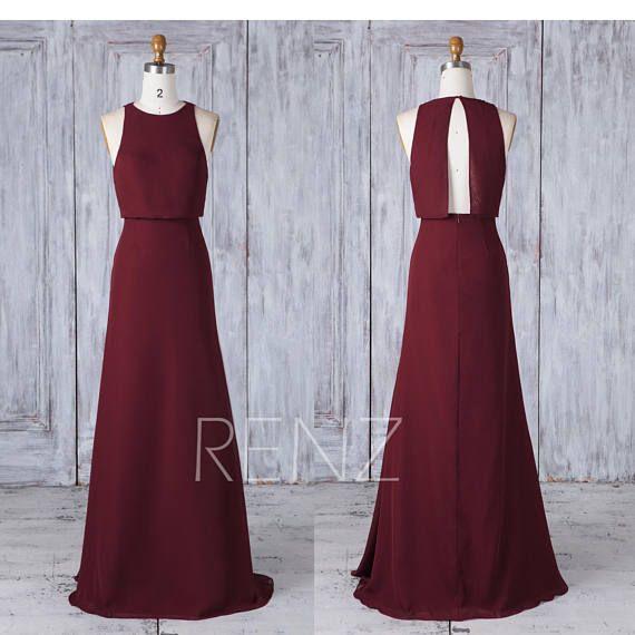 Bridesmaid Dress Maroon Chiffon Wedding Dress Boat Neck Fitted Maxi Dress Open Back Long Prom Dress A-Line Empire Waist Evening Dress(H568) #maxidress