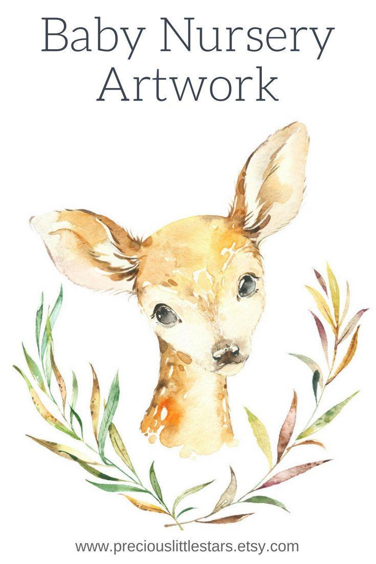Woodland Baby Nursery Print, Instant Download, Printable Bedroom Art ...