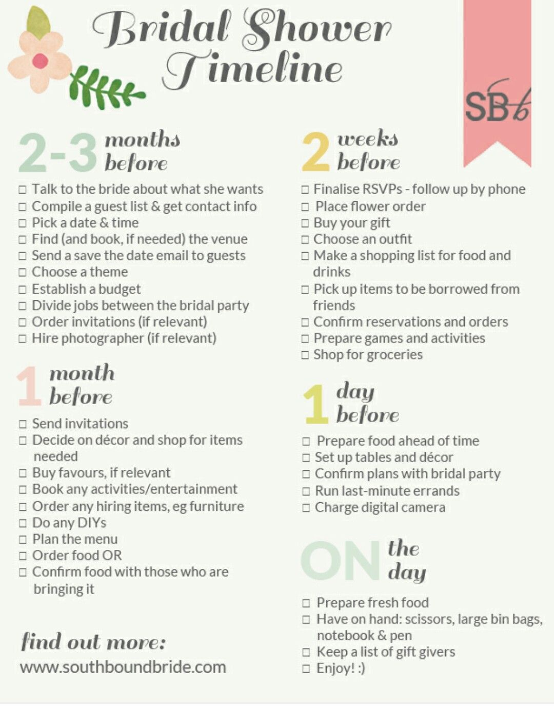 bridal shower timeline