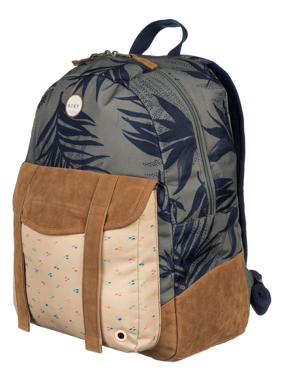 25f4a82639b roxy, Melrose - All-Over Printed Backpack, INDO FLORAL COMBO DUSTY OLIVE  (gpb6)