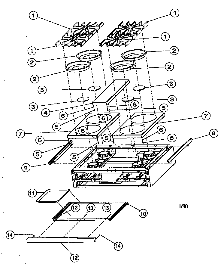 Viking Range Parts >> Burner Box Exterior Assembly Diagram Parts List For Model