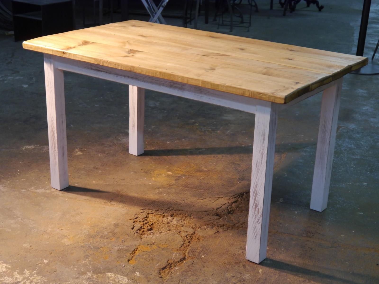 mesa rstica blanca con tablones taverna - Mesa De Madera Rustica