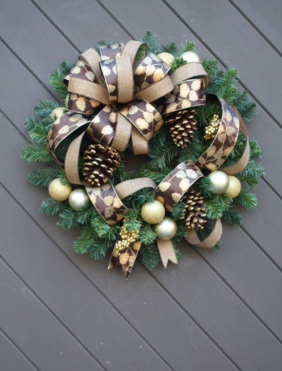 Christmas Wreath, Ready To Ship, Holiday Wreath In Gold And Brown, Luxury  Door Wreath, Evergreen Wreath, Artificial Wreath, Faux Pine Wreath