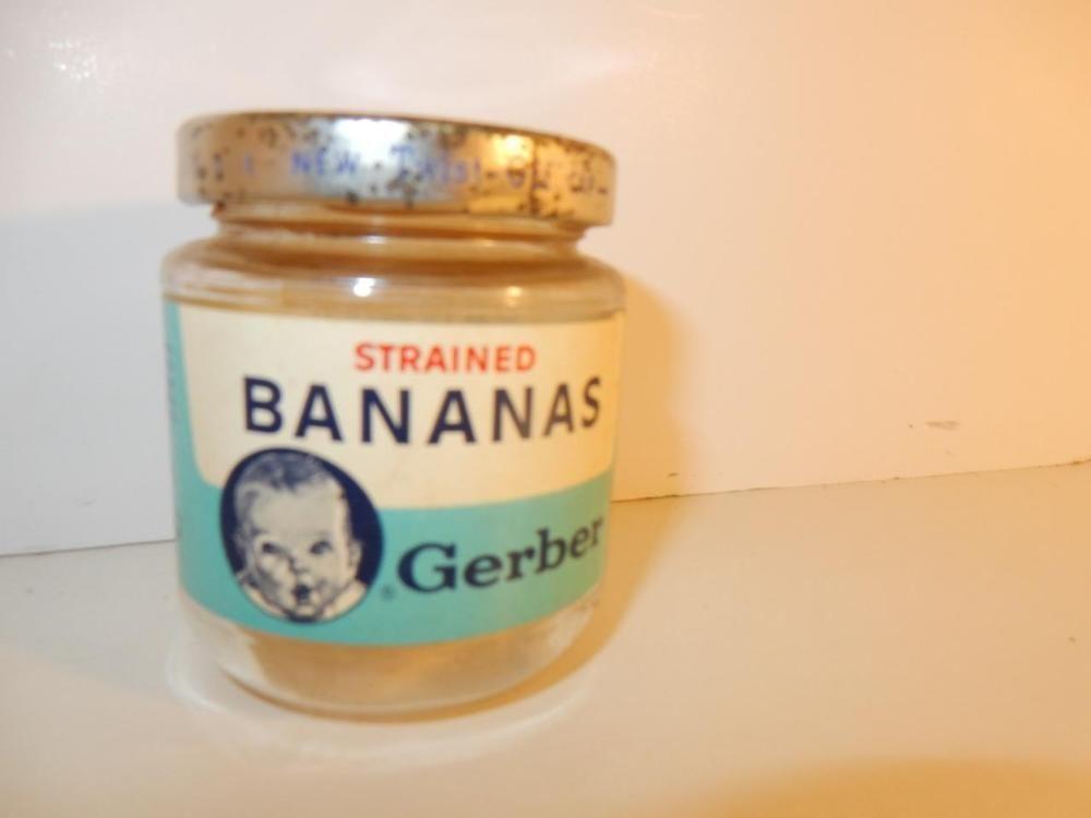Antique vintage baby bottle of baby food jar gerber 1950s