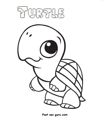 Print Out Baby Animal Turtle Coloring Pages สม ดระบายส ส ตว เต า