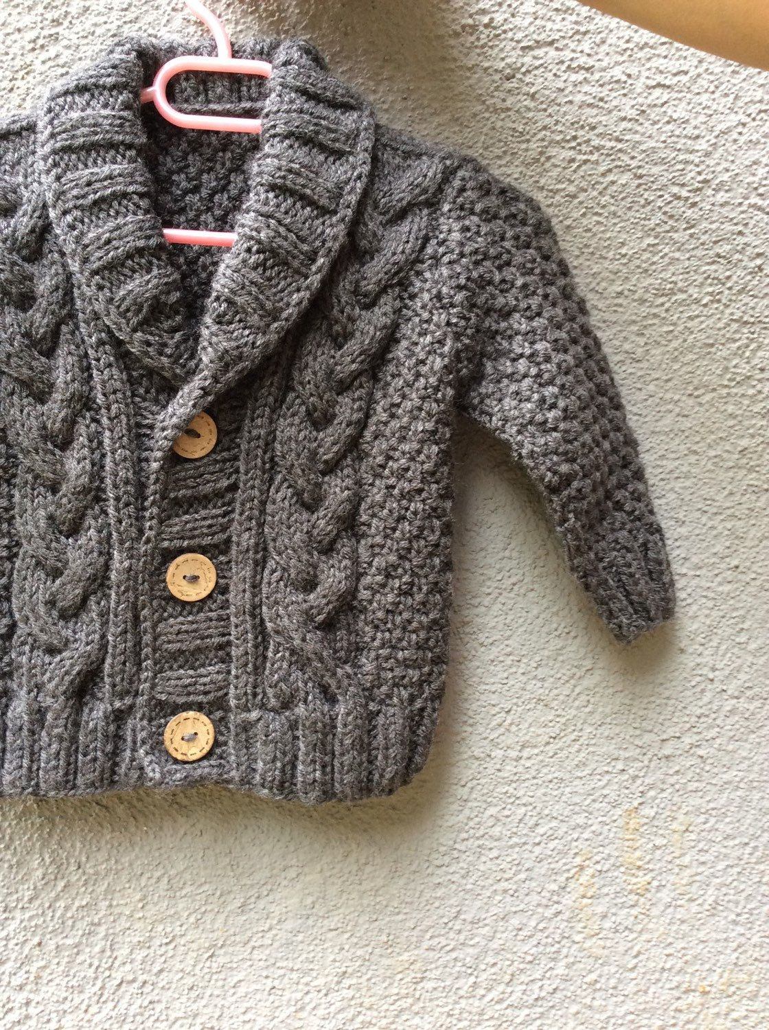 Grey Knitted Baby Cardigan Baby Boy Cable Sweater Coat