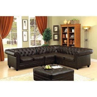 Shop For Furniture Of America Sylvana II Traditional Tufted Brown  Leatherette Sectional. Get Free Delivery