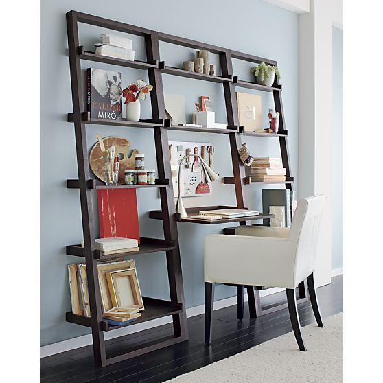 Sloane Grey Leaning Desk With 2 Bookcases In Desks Crate And Barrel