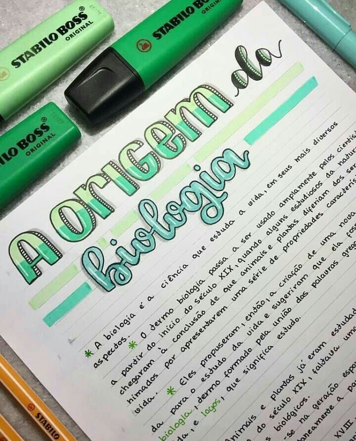 Biology Study Notes In Green And Turquoise Follow