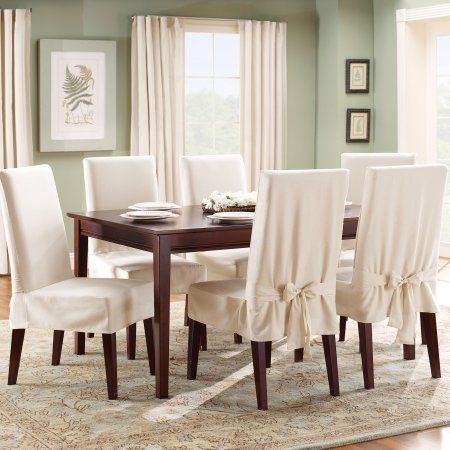 Buy Sure Fit Cotton Duck Shorty Dining Chair Slipcover At Walmart