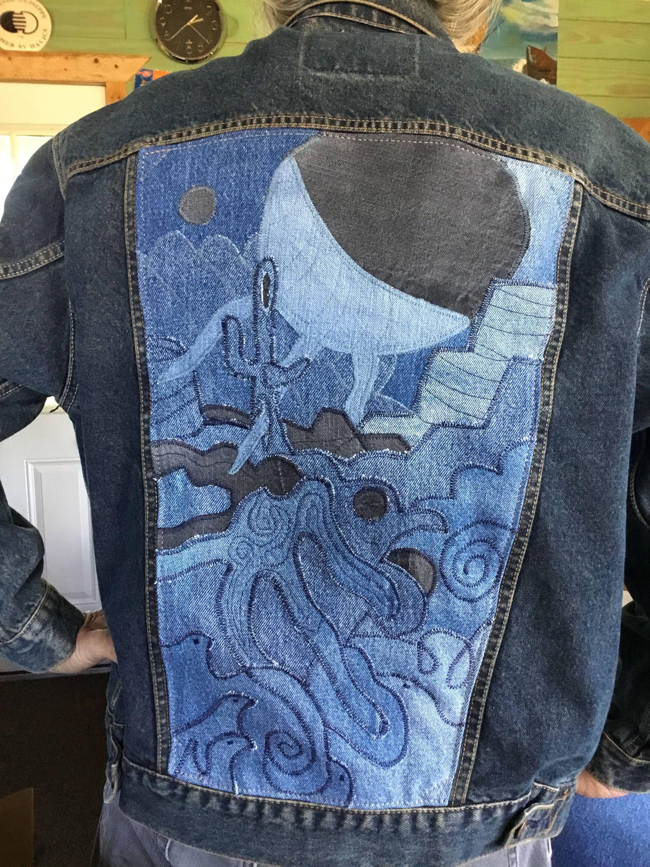 8a6bb5da3d Men s Denim Jacket ~ Denim on denim Appliqué ~ Back Panel Embellished  desert scene~ One of a Kind ~ Levi s Signature coal wash~ men s Large