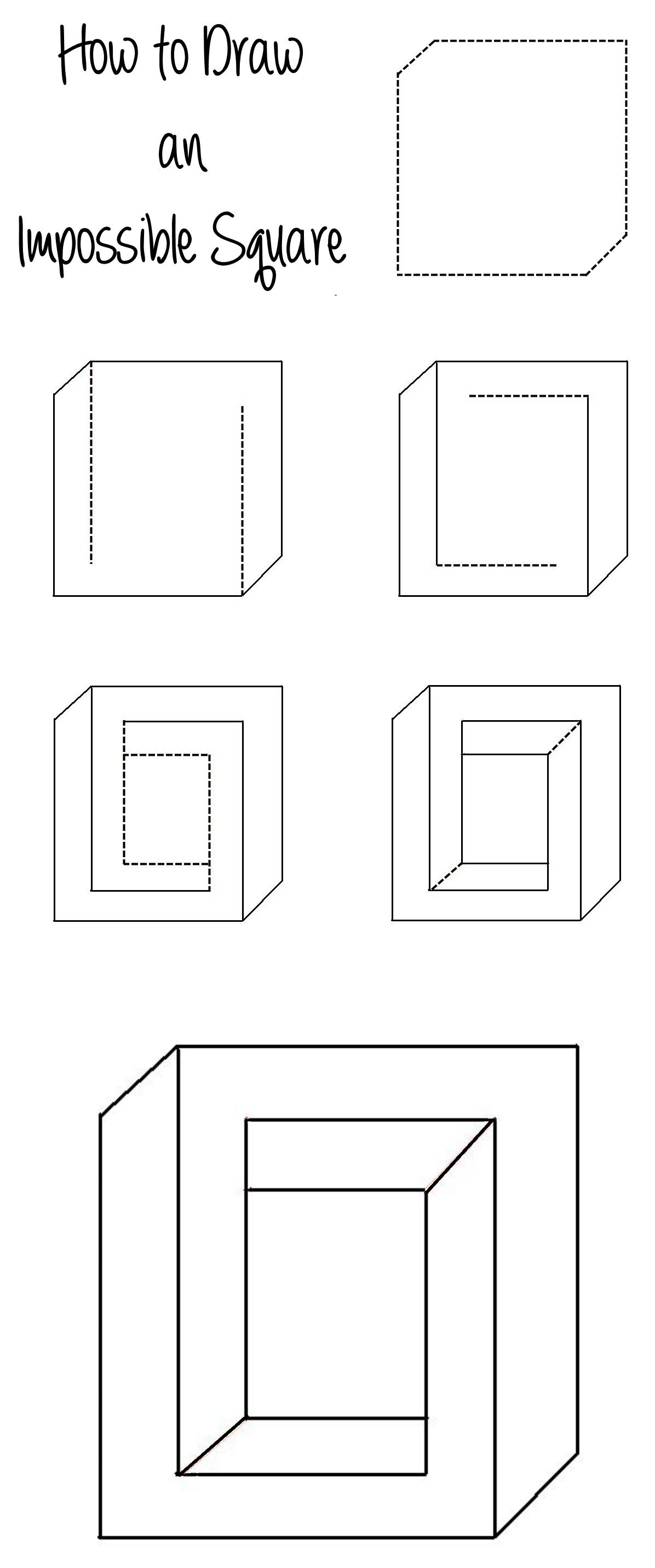how to draw an impossible square illusion http www moillusions