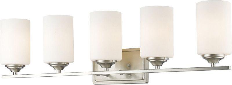 Z-Lite 435-5V-BN 5 Light Vanity Light Bordeaux Collection Matte Opal Finish